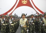 Members of a guard of honour march during a parade to mark the 67th anniversary of Armed Forces Day in Naypyitaw