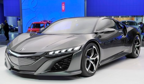 The Acura NSX concept vehicle is seen on display at Cobo Center during press preview days of the North American International Auto show in Detroit