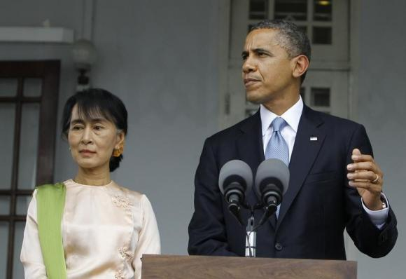 U.S. President Barack Obama talks to reporters during a news conference after meeting Myanmar's Opposition Leader Aung San Suu Kyi at her home in Yangon November 19, 2012.  Credit: Reuters/Soe Zeya Tun